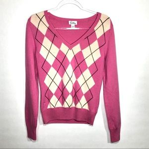 Lilly Pulitzer Pink Argyle Cashmere Sweater 🧶